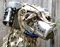 Recycleart - Hund mit Ohr-Pedalen